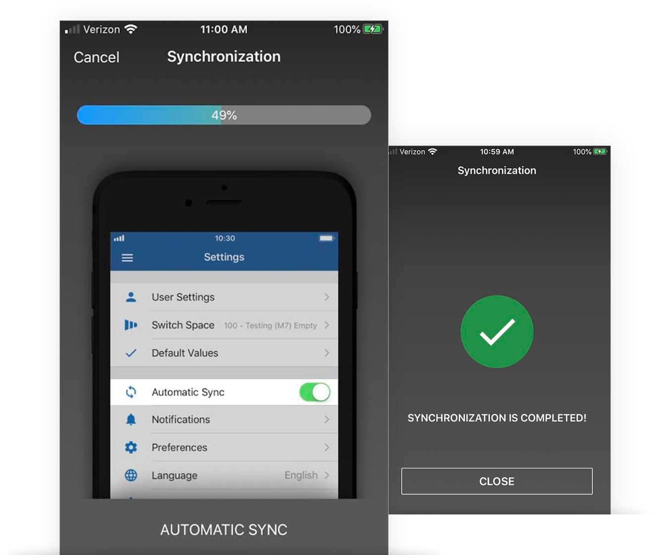 Mobile CRM automatic sync