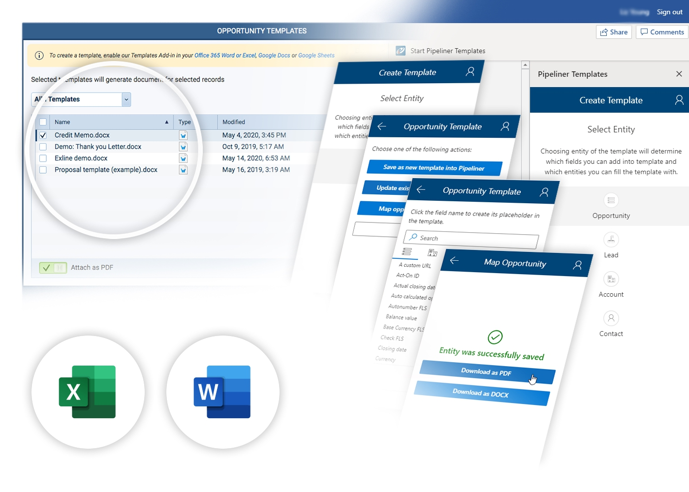 Microsoft 365 Templates › Word & Excel with Pipeliner CRM