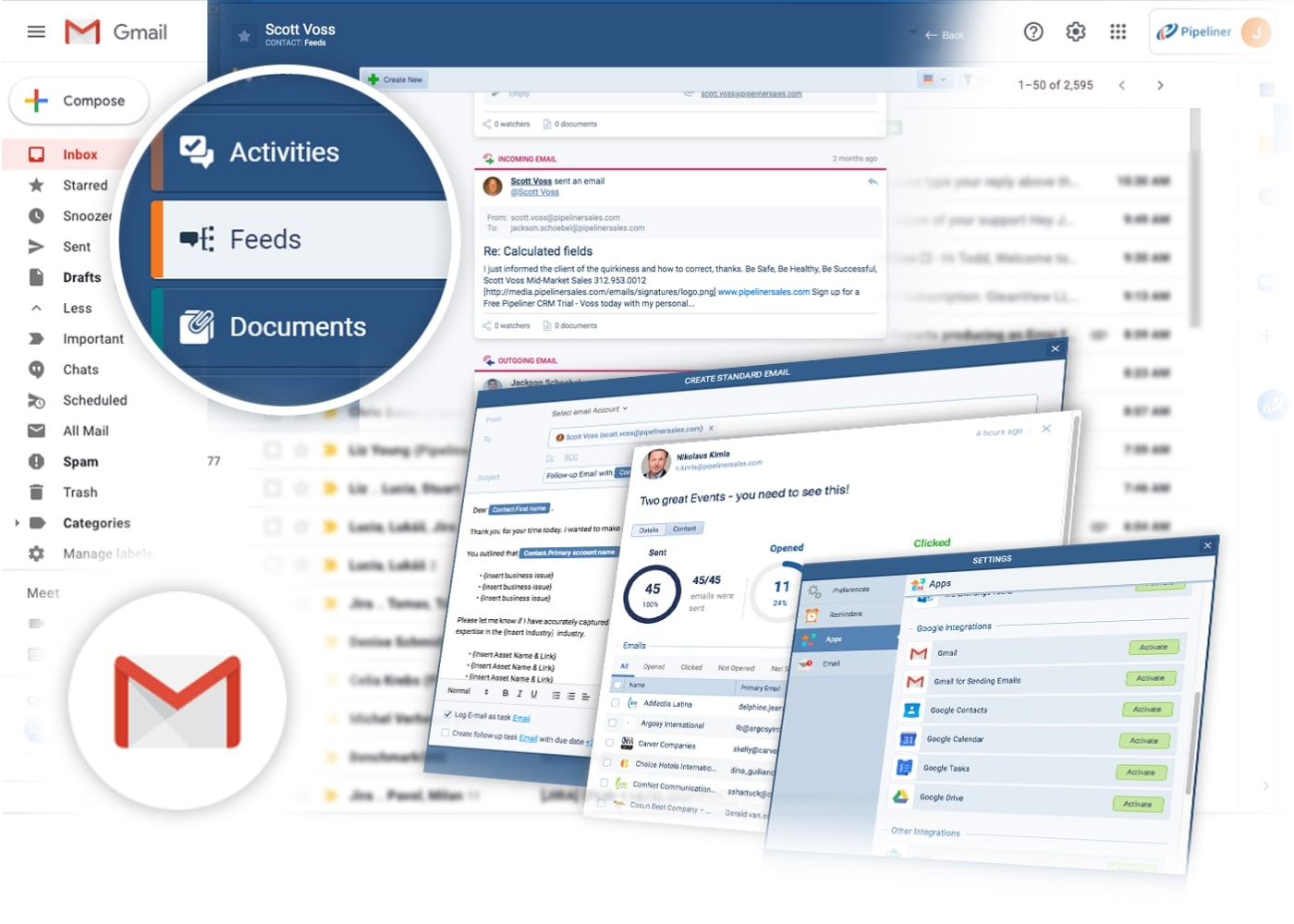 Pipeliner CRM integration with Gmail